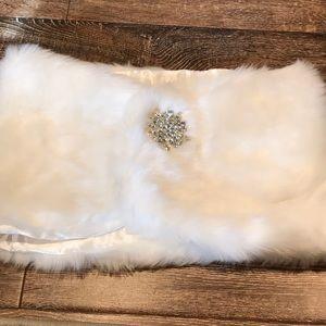 Beautiful white fur wrap with rhinestone brooch